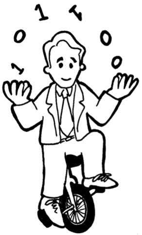 Cartoon of Claude Shannon juggling and riding a unicycle.